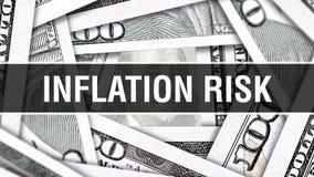 Inflations-Risiko-Nahaufnahme-Konzept Amerikanische Dollar des Bargeld-, Wiedergabe 3D Inflations-Risiko an der Dollar-Banknote F lizenzfreie abbildung