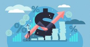 Inflationsvektorillustration Kleines Personenkonzept mit grundlegendem Wirtschaftsausdruck vektor abbildung