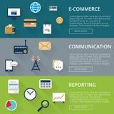 Inflatstil för tre baner med symboler e-kommers eller online-shopping, kommunikation, rapport Arkivfoto