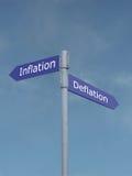 Inflazione contro deflazione Fotografia Stock Libera da Diritti