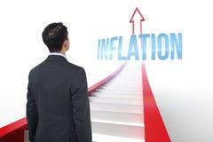 Inflazione contro la freccia rossa con i punti grafici Fotografia Stock Libera da Diritti