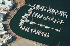 Inflight boat harbour. Low pass fly over of a boat harbour in Western Australia stock images