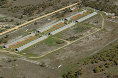 Inflight chicken farm. Low pass fly over of a chicken farm in Western Australia. Visible long steel sheds from the air royalty free stock photo