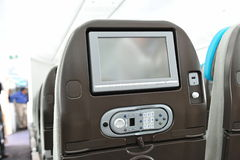 Inflight entertainment system in a Boeing 787 Dreamliner at Singapore Airshow 2012 Royalty Free Stock Photo