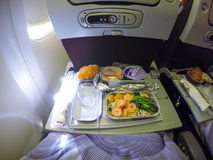 Inflight Meal. Tray of inflight meal onboard stock photo