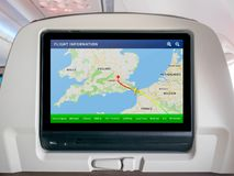 Inflight Progress Map Screen, In-Flight Map Screen, Flight Screen, Flight Tracker. In Airplane Stock Image