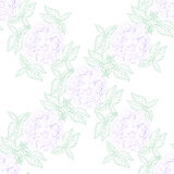 Inflorescence Hydrangea randomly arranged in seamless pattern, vector illustration in hand drawing linear style. Royalty Free Stock Photography