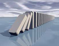 Influence abstract concept with falling dominoes Stock Photos