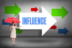 Influence against arrows pointing Royalty Free Stock Image