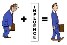 Influence. Cartoon showing the positive impact of influence on businessman Royalty Free Stock Image