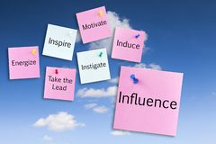 Influence Concept Notes on Sky. Influence Concept - notes pinned to a blue sky, influence, inspire, motivate, take the lead royalty free stock photos