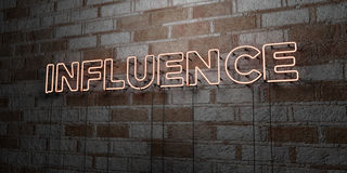 INFLUENCE - Glowing Neon Sign on stonework wall - 3D rendered royalty free stock illustration Stock Photography
