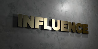 Influence - Gold sign mounted on glossy marble wall  - 3D rendered royalty free stock illustration Royalty Free Stock Photo