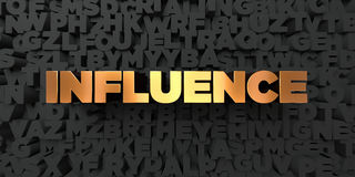 Influence - Gold text on black background - 3D rendered royalty free stock picture Stock Images
