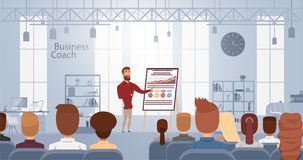 Influence lecture talking about business training at smart coach center. Vector illustration. Conference meeting concept royalty free illustration