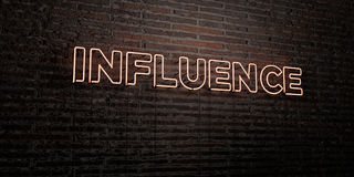INFLUENCE -Realistic Neon Sign on Brick Wall background - 3D rendered royalty free stock image Stock Photography