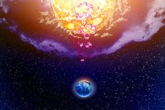 Influence Sun on planet Land. In cosmos royalty free stock photos