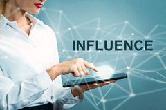 Influence text with business woman Royalty Free Stock Photo