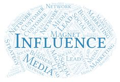 Influence word cloud. Wordcloud made with text only vector illustration