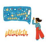 Influencer与女孩和文本的传染媒介概念 向量例证