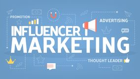 Influencer营销概念 在社会媒介的促进 皇族释放例证