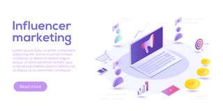 Influencer выходя равновеликую иллюстрацию вышед на рынок на рынок вектора Adverti блога иллюстрация штока