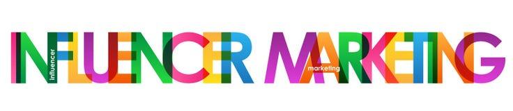 INFLUENCER LANÇANT la bannière sur le marché de recouvrement colorée de vecteur de lettres illustration libre de droits