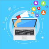 Influencer marketing banner. From the computer comes out a hand with a megaphone, calling users. Vector flat illustration Royalty Free Stock Photography