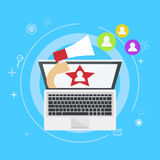 Influencer marketing banner. From the computer comes out a hand with a megaphone, calling users. Vector flat illustration Stock Photo