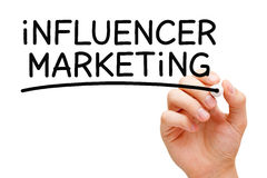 Influencer Marketing Black Marker. Hand writing Influencer Marketing with black marker on transparent wipe board Stock Image