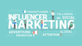 Influencer marketing concept. Idea of attention, advertising and media Royalty Free Stock Photos