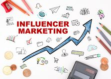 Influencer marketing concept. The sheet of paper with diagram royalty free stock image