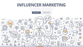 Influencer Marketing Doodle Concept Stock Photos