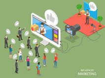 Influencer marketing flat isometric vector concept. Video blogger is representing a new product for its audience throw video post on its page stock illustration