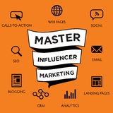 Influencer Marketing Icon Set. With Social Media, CRM, Analytics, etc Stock Photography