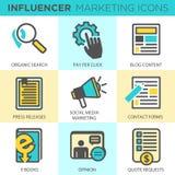 Influencer Marketing Icon Set. With Social Media, CRM, Analytics, etc Stock Image