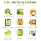 Influencer Marketing Icon Set. With Social Media, CRM, Analytics, etc Royalty Free Stock Photo