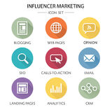 Influencer Marketing Icon Set. With Social Media, CRM, Analytics, etc stock illustration