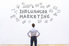 Influencer marketing. Concept, business influence online on social media stock photo