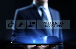 Influencer marketing Social media advertising business concept on screen. stock photography