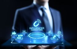 Influencer marketing Social media advertising business concept on screen. stock illustration