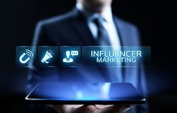 Influencer marketing Social media advertising business concept on screen. stock images