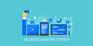 Influencer marketing, social media networking, communication, digital content marketing concept. Flat design vector banner. Concept of modern influencer Stock Photos