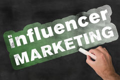 Influencer-Marketing-Tafel stockbild