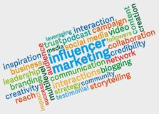 Influencer marketing tag cloud against light grey background. Influencer marketing word cloud against light grey background vector illustration
