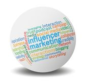 Influencer marketing tag cloud on globe against light grey background vector illustration