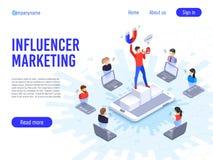 Influencer marknadsföring Påverkan på B2c-klienter, potentiella produktköpare eller konsumtionsproduktköpare royaltyfri illustrationer