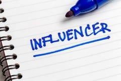 Influencer notatka obraz stock