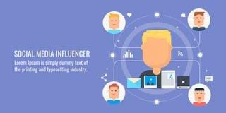 Influencer social de media, vente d'influencer, vente satisfaite, media numérique, concept satisfait viral Bannière plate de conc Images stock