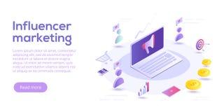 Influencer som marknadsför den isometriska vektorillustrationen Bloggadverti stock illustrationer